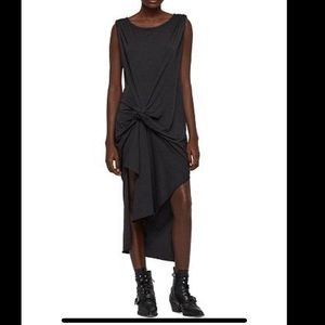 All Saints Riviera Marled Charcoal Draped Dress